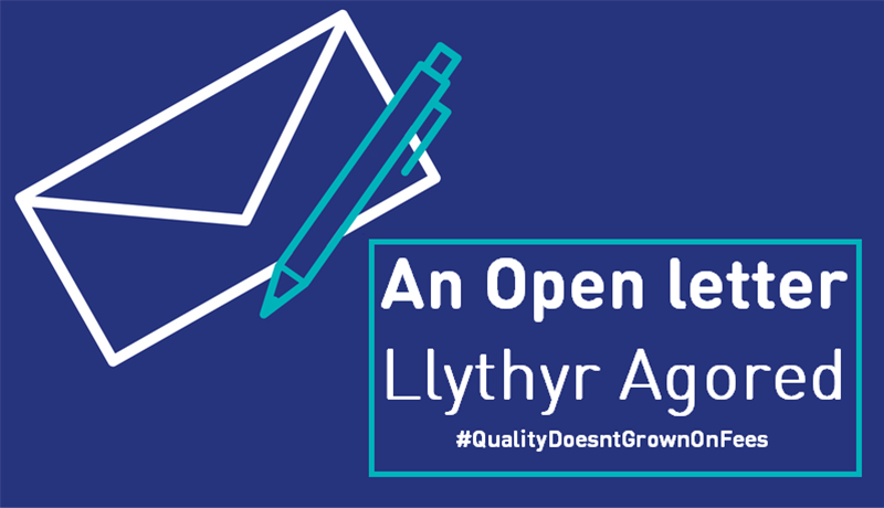 An Open Letter - Llythyr Agored. Image of an envelop and pen